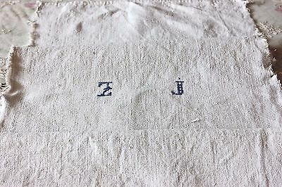 Antique 18thC French Farmhouse Homespun Linen Initialed Fabric Textile Yardage