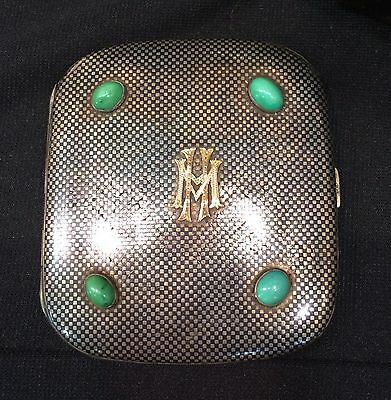 German Modernist 935 Silver, Gold, Niello, and Turquoise Cigarette Case, c 1938