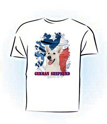 German Shepherd   white   Stars & Stripes  PERSONALIZED   Pet  T shirt