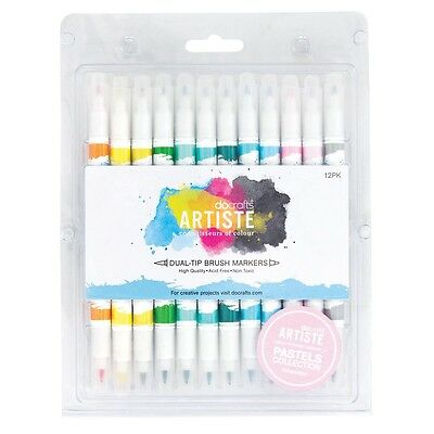 DUAL TIP BRUSH MARKERS - Docrafts Artiste - choice of 3 sets