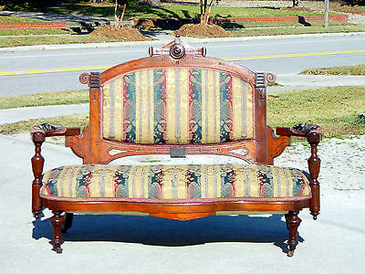 Walnut Victorian Open Arm Sofa Settee