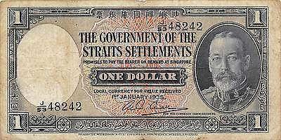 Straits Settlements  $1  1.1.1935  P 16b  Series J/53 circulated Banknote A23