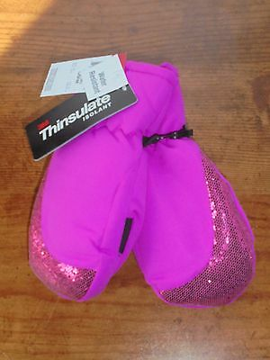 3M Thinsulate Toddler Girls Mittens Pink Sequins OSFM NEW WITH TAGS