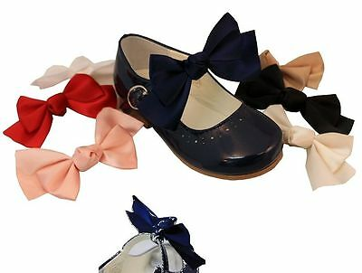 Infant Toddler Girls Elastic Satin Add On Shoe Bows Assorted Colours 2 in a Pack