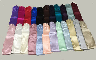 "23"" Long Stretch Satin Opera Glove Spandex.Bridal Wedding. Prom.Halloween"