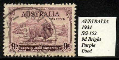 Australia 1934 Captain John Macarthur 9d Bright Purple  SG.152 Used  Cat:£50