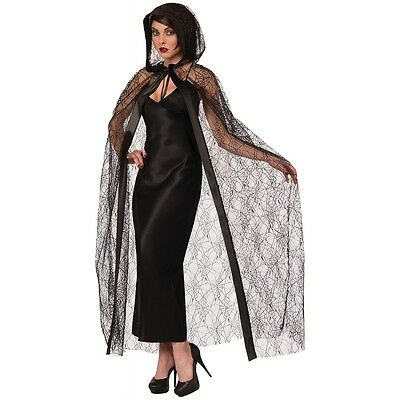Hooded Spider Web Cape Costume Accessory Adult Halloween