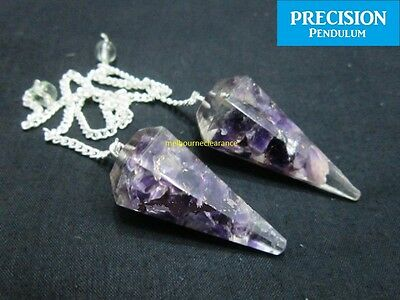 Amethyst Orgone Precision Pendulum with Chain Healing Gemstone Divination