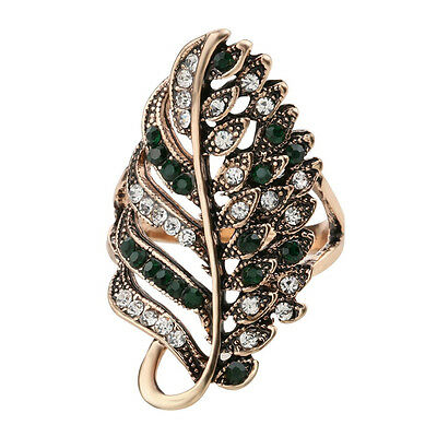 Peacock feather green crystal rhinestone statement ring hot Turkey fashion jewel