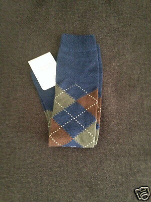 Story Loris Boys' Navy/Multi Argyle Socks (Size 5-6)-MSRP:  $22.00