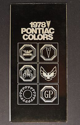 1978 Pontiac Paint Chip Colors Brochure Firebird Trans Am Grand Prix LeMans 78