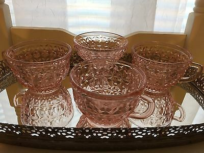 Vintage Pink Jeannette Holiday Buttons And Bows Three Teacups and Sugar Bowl