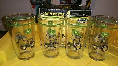 John Deere 4 16 oz Glass ConicalTumblers Dishwasher Safe By Gibson New NIB