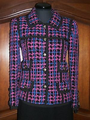 Adolfo jacket,vintage woven wool boucle, black/pink/blue,size 6
