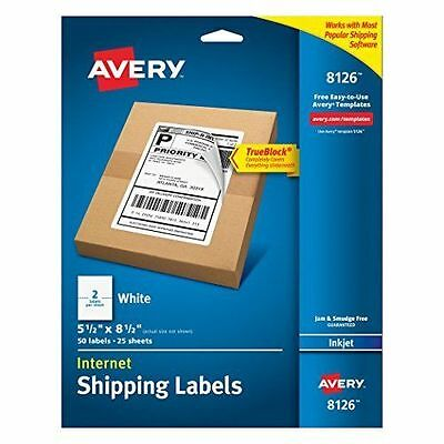 """Buy 3 Get 1 - Avery Inkjet Shipping Labels - 5.5"""" X 8.5"""" 50 Label White (8126)"""