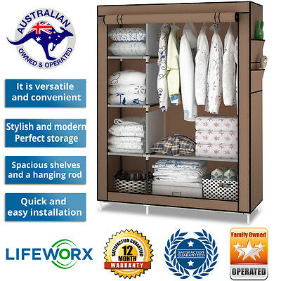 Wardrobe Portable Closet Canvas Clothes Garments Shelf Racks Adjustable Hanger
