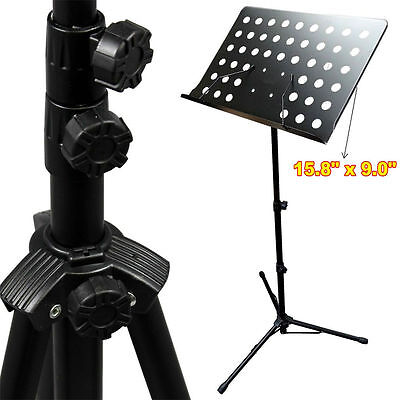 Black Music Conductor Stand Adjustable Height Metal Sheet Tripod Holder Folding