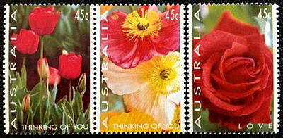 1994 Australian Decimal Stamps -Love Roses Thinking of You MNH set of 3