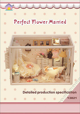 DIY Wooden Dollhouse Handmade Miniature Kit house perfect flower married dream