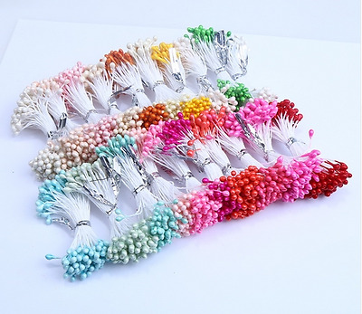 300PCS Artificial Flower Double Heads Stamen Pearl Craft Card Cake Decor Floral