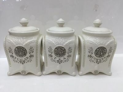 18.5cm Vintage Style Set of 3 Ceramic Tea/Coffee/Sugar Canisters