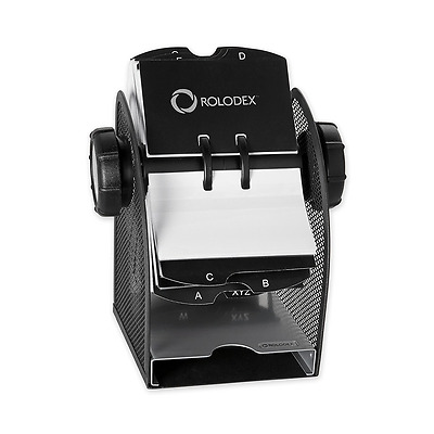 Rolodex Two-Tone Mesh Rotary Business Card File, 400-Card, Black and Silver (173