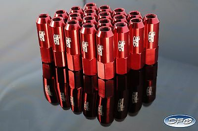 20 Pcs 60Mm Extended Tuner Lug Nuts M12X1.5 Red Fit Hyundai Mazda Toyota