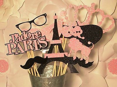 Pink and Black Paris Party Photo Booth Props made with 100% Glitter Paper!
