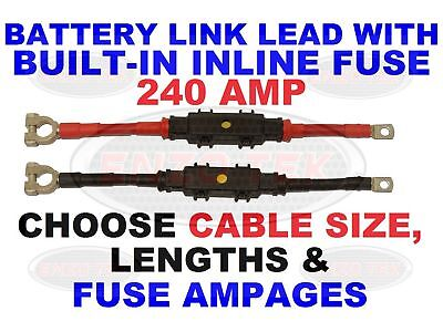 Heavy Duty Split Charge Cable 12V 24V 240 Amp Built In Inline Fuse Various Fuse