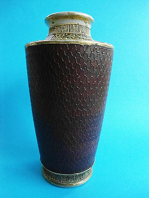 Antique Japanese Meiji Satsuma Moriage Tube Lined Vase