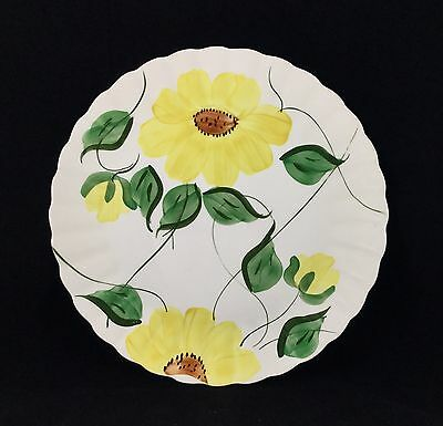 "Vintage Large Blue Ridge Sunflower Cake Plate 11 1/8"" Southern Potteries"