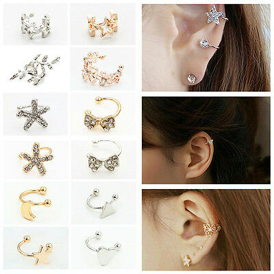 Fashion 1X Women Silver Gold Crystal Ear Cuff Cartilage Wrap Non Piercing Clip