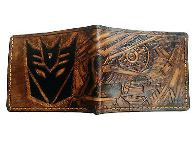 Men's 3D Genuine Leather Wallet, Hand-Carved, Tooled, Transformers, Decepticon