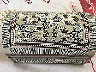 "Egyptian Inlaid Mother Of Pearl Paua Large Jewelry Box 10.25"" Handmade In Egypt"