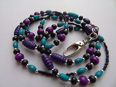 Beaded Wood Lanyard For ID Badge / Pass, Card Holder. Necklace