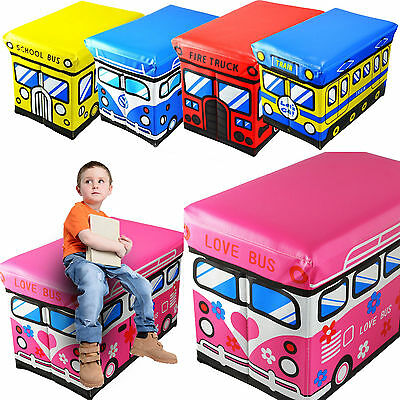 Kids Storage Box Seat Children Pop Up Folding Toy Chest Clothes Toys Books