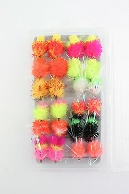 X24 Blobs & Fabs, Assorted Fly Fishing Flies, Various Sizes, Complete With Box!
