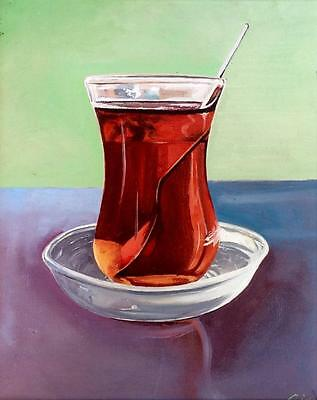 Turkish Chai Cay Tea Limited Edition Print Of Original Oil Painting Hyperrealism