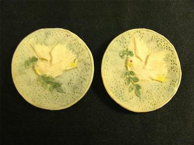 Group of 2 Miniature Hand Painted Dove Plates Dollhouse Items ~ FREE SHIPPING