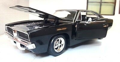 G LGB 1:24 Scale Black Dodge Charger R/T 1969 New Ray Diecast Model Car 71913