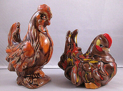 Ceramic Multi-Colored Rooster And Hen Chicken Figurines