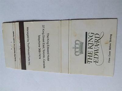The King Edward Hotel King Street Toronto Canada Vintage Matchbook