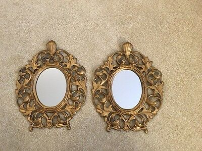 Antique Pair 1800s Victorian Gilt Cast Iron French Gold Acanthus Mirror Frames