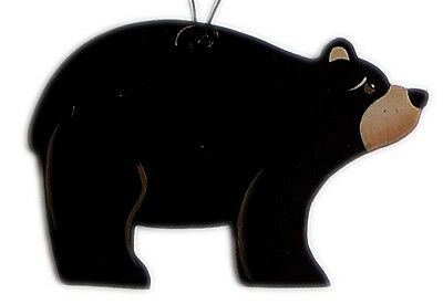 3.5x2.5 Wildlif Wood Lodge Cabin Lake Country Primitive BLACK BEAR ornament sign