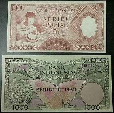 INDONESIA UNC LOT 1958 1000 + 1959 1000 Rupiah Note P-62, P-71b World Banknotes