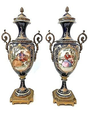 A Pair Marked Sevres Porcelain Urn Circa 20Th Century  18.25""