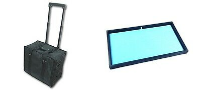 Premium Rolling Travel Case & 12 Light Blue Pad Insert Trays Jewelry Medals Pins