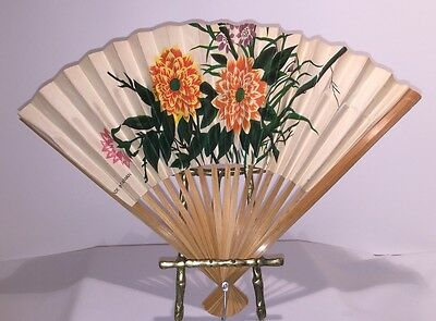 "WOODEN HAND FAN 13"" X 8 3/4"" Vintage Paper With Floral Pattern"