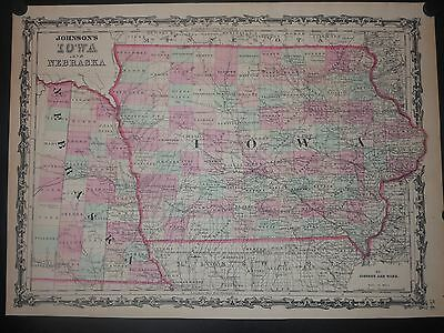 Iowa & Nebraska 1864 Map By Johnson & Ward Hand Colored Cities Railroads