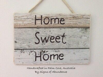 Signs; Welcome Home Sweet Home Hanging Wall Warning Sign, Wooden for Front Door